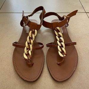 Steve Madden Gold and Brown Sandals Size 7